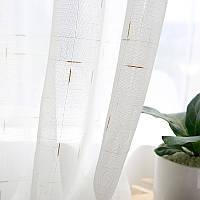 Тюль лен с бежевым декором