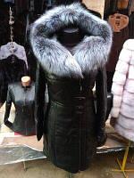 Женский кожаный пуховик Турция