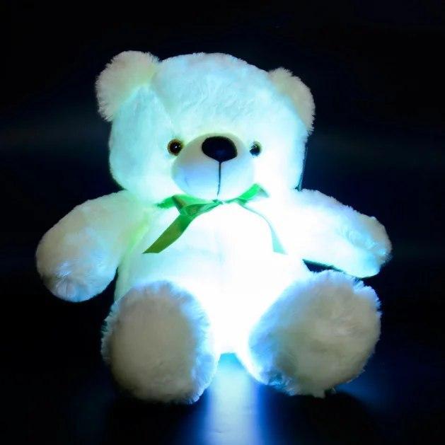 Светящийся мишка 50 см BONDIK Original с зеленой лентой