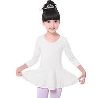 Детский белый купальник с юбкой для танцев и хореографии (хлопок)