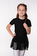 Черная детская юбка в сеточку для танцев, фото 1