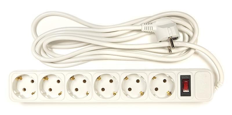 Фильтр питания PowerPlant JY-1057/3 (PPSA10M30S6) 6 розеток, 3 м, белый