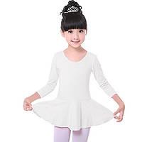 Дитячий гімнастичний купальник з спідницею для танців бавовна Білий