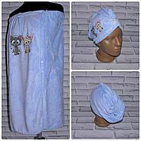 Комплект для сауны полотенце юбка + чалма тюрбан (N505)