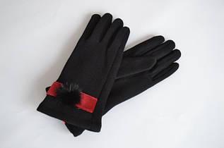 Женские трикотажные перчатки с пушком