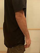 Оверсайз чёрная футболка удлиненная с округлённым низом, фото 3