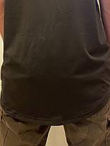 Оверсайз чёрная футболка удлиненная с округлённым низом, фото 2
