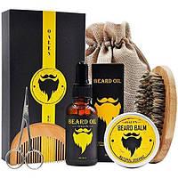 Подарочный набор по уходу за бородой, Набор для роста и ухода за бородой и усами OALEN 5 предметов+мешок