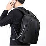 Рюкзак мужской Tigernu городской с USB портом, отделом для ноутбука, чехлом, встроенным замком (черный), фото 2