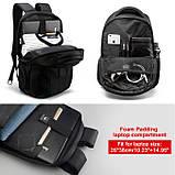 Рюкзак мужской Tigernu городской с USB портом, отделом для ноутбука, чехлом, встроенным замком (черный), фото 5