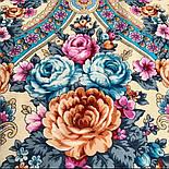 Аврора 1841-13, павлопосадский платок шерстяной  с шелковой бахромой, фото 3