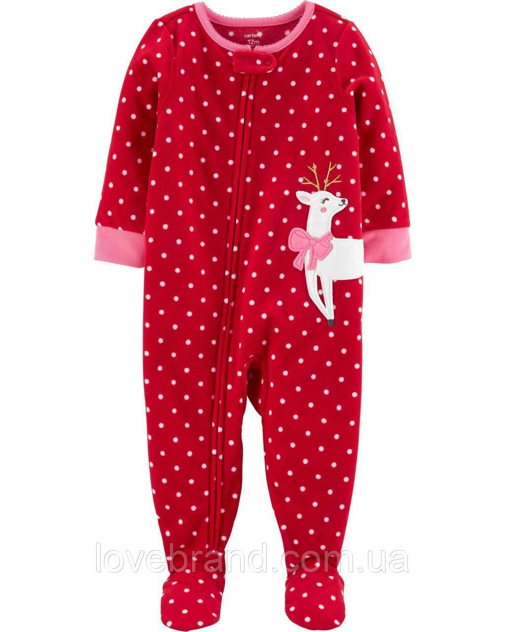 """Флисовый слип для девочки Carter's """"Олень"""" красная флисовый человечек с ножками 12 мес/72-78 см"""
