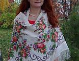 Утреннее сияние 1561-1, павлопосадский платок шерстяной с просновками с шелковой бахромой, фото 4