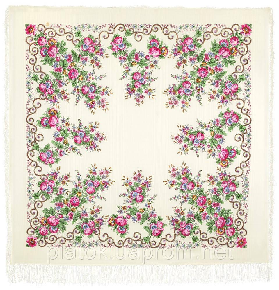 Утреннее сияние 1561-1, павлопосадский платок шерстяной с просновками с шелковой бахромой