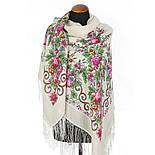 Утреннее сияние 1561-1, павлопосадский платок шерстяной с просновками с шелковой бахромой, фото 2