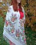 Утреннее сияние 1561-1, павлопосадский платок шерстяной с просновками с шелковой бахромой, фото 5