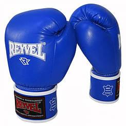 Боксерские перчатки Reyvel 16oz синие (кожа)