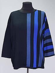 Женская кофта большого размера с вертикальными полосами