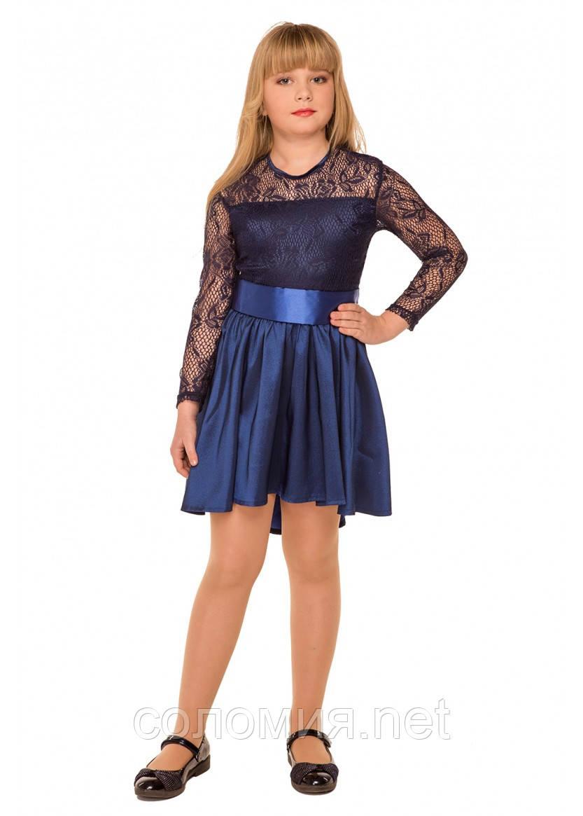 Нарядное платье с гипюровым верхом для девочки 134-140р