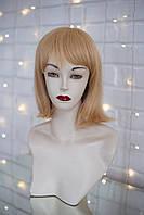 Парик каре женский из натуральных прямых волос с челкой, цвет светло-русый пшеничный