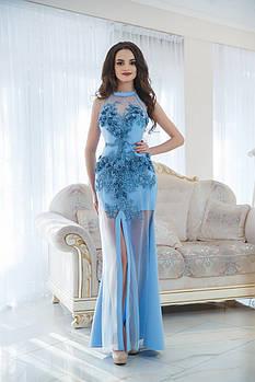 Платье голубое с аппликацией VH