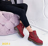 Ботинки 39,40 размеры  тимбер зимние мартинсы марсала К2025-1, фото 4