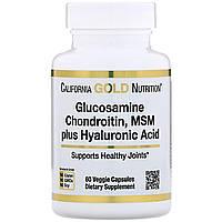 Глюкозамин, хондроитин, метилсульфонилметан плюс гиалуроновая кислота, 60 капсул California Gold Nutrition