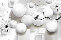 Фотообои на флизелиновой основе - Одуванчики с шарами и велосипедом 3Д (ширина рулона -1,03м)