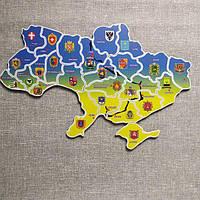 Магнитный Пазл Україна. Карта України з гербами обласних центрів