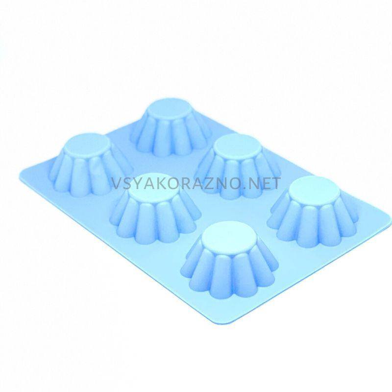 Силиконовая форма для выпечки в духовке (Кекс волна) голубой
