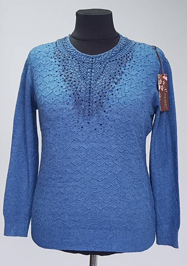 фотография кашемировая нарядная женская кофта голубого цвета
