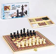 36818 Шахматы 3 в 1 деревянная доска, в коробке