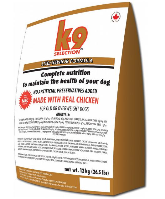 K-9 Селекшен Лайт/Сеньор Selection Lite/Senior корм для літніх собак та схильних до зайвої ваги, 12 кг