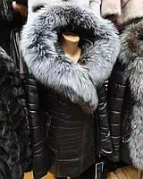 Кожаная куртка с натуральным мехом чернобурки
