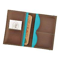 Кожаная обложка для паспорта 2.0 темно-коричневая с бирюзовым, фото 1