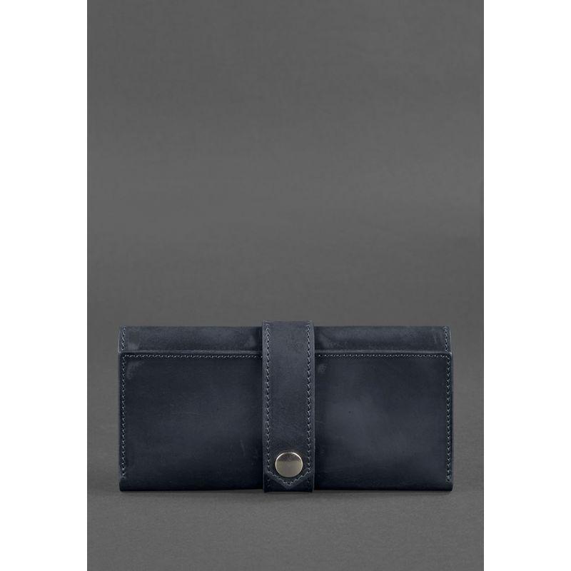 Кожаное женское портмоне 3.0 синее Crazy Horse