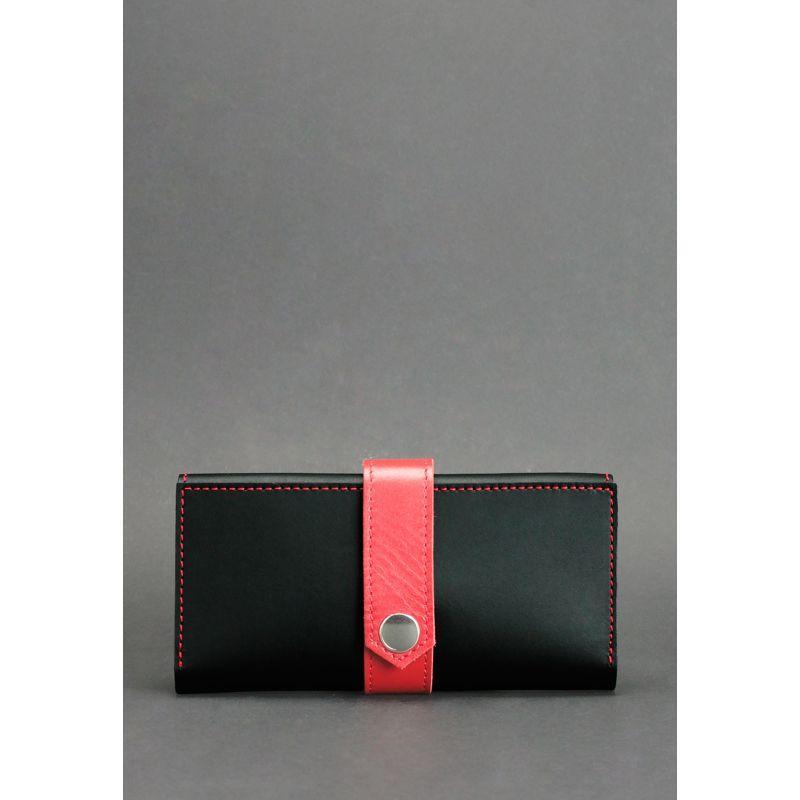 Кожаное женское портмоне 3.0 черное с красным