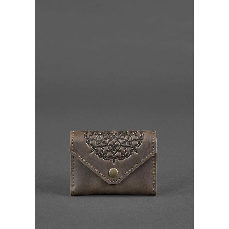Кожаный кард-кейс 3.0 темно-коричневый с мандалой