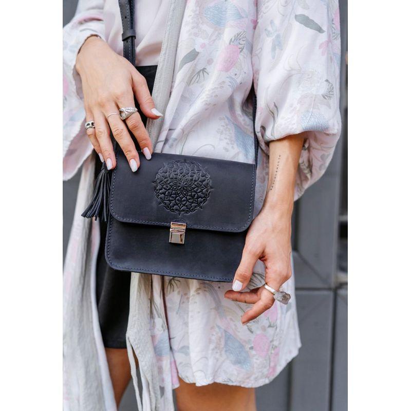 Кожаная женская бохо-сумка Лилу синяя
