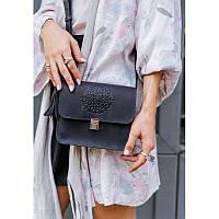 Кожаная женская бохо-сумка Лилу синяя, фото 1