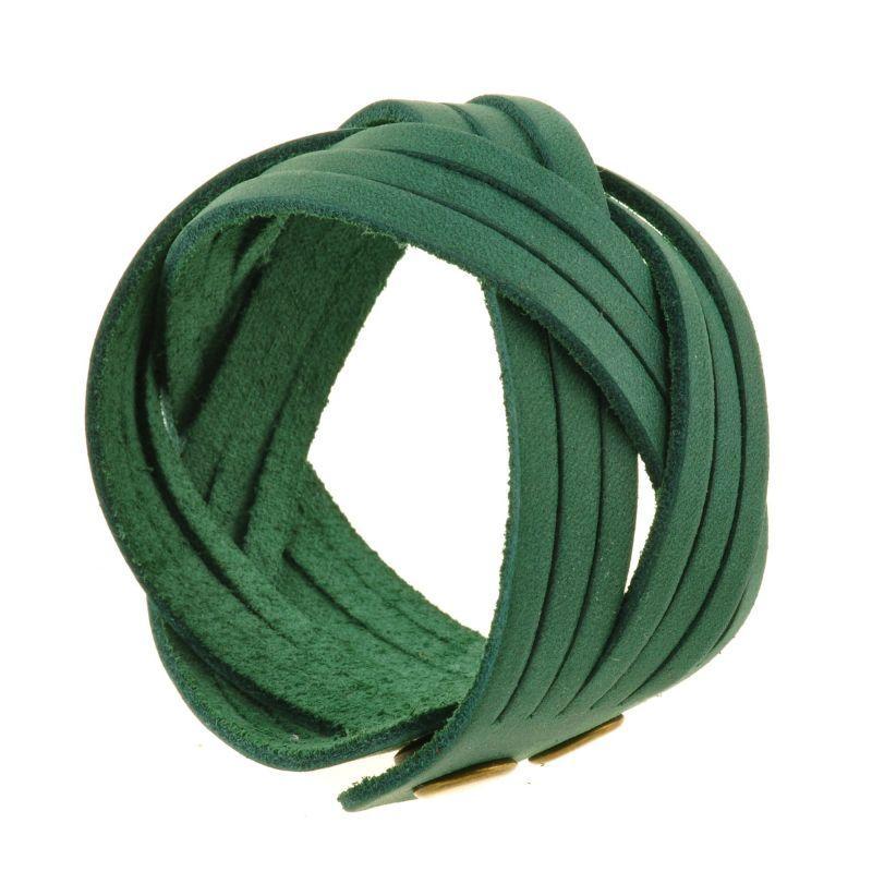 Кожаный браслет косичка зеленый