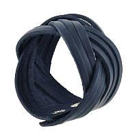 Женский кожаный браслет косичка синий, фото 1