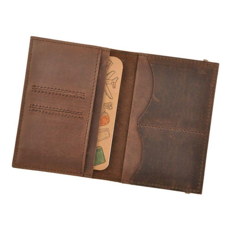 Кожаная обложка для паспорта 2.0 темно-коричневая