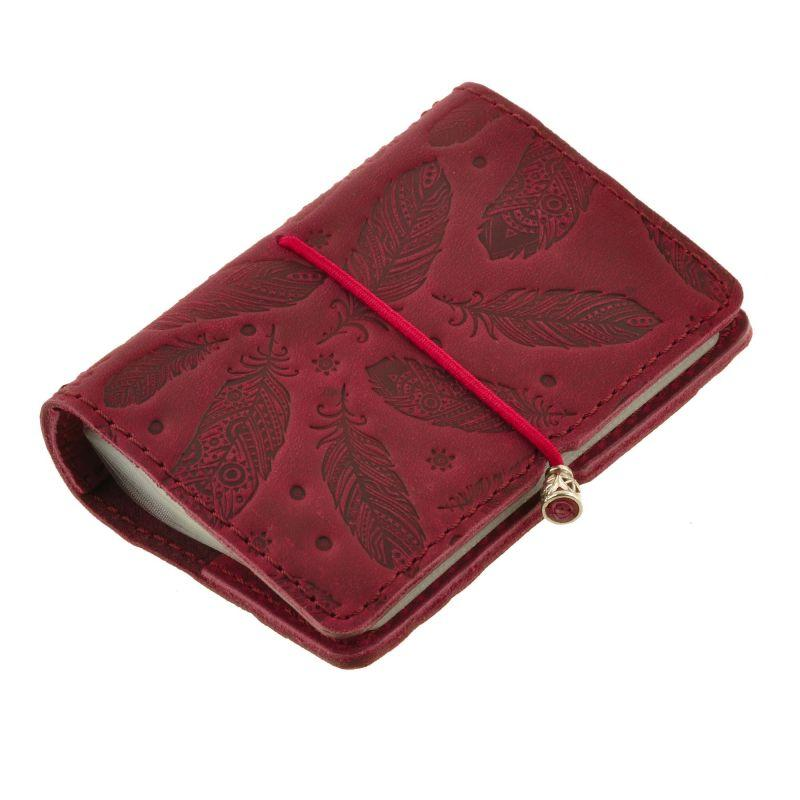 Женский кожаный кард-кейс 7.0 бордовый с перьями