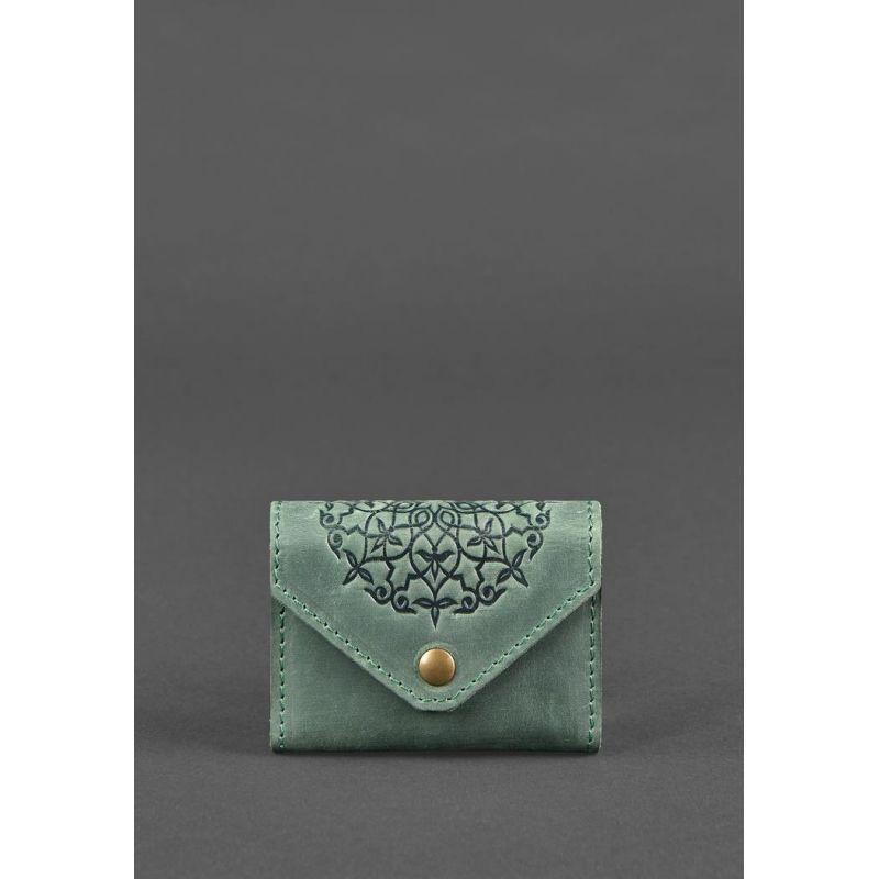 Кожаный кард-кейс 3.0 зеленый с мандалой