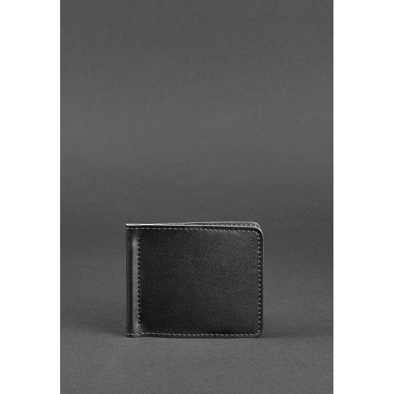 Мужское кожаное портмоне черное Краст 1.0 зажим для денег
