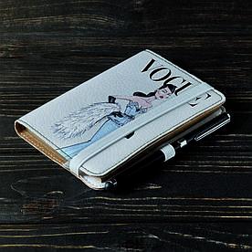 Обложка на блокнот 2.0 A6 Fisher Gifts 111 Девушка VOGUE 4 (эко-кожа)