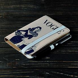 Обложка на блокнот 2.0 A6 Fisher Gifts 113 Девушка VOGUE 6 (эко-кожа)