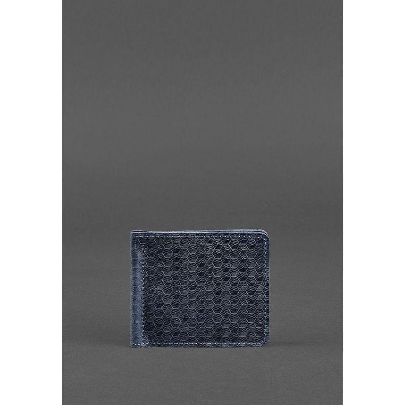 Мужское кожаное портмоне синее1.0 зажим для денег Карбон