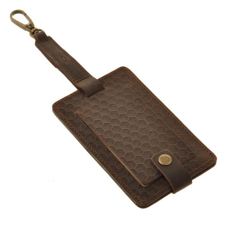 Кожаная бирка для багажа Бланк-тэг темно-коричневая Карбон